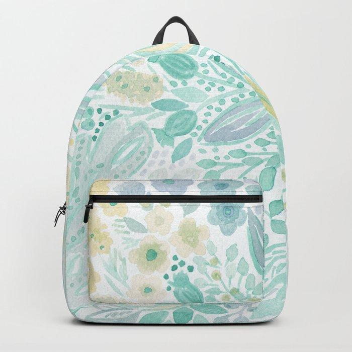 Watercolor . Flower meadow . 2 Backpack