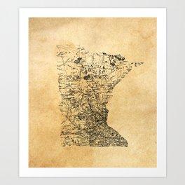 Old Minnesota Map Art Print