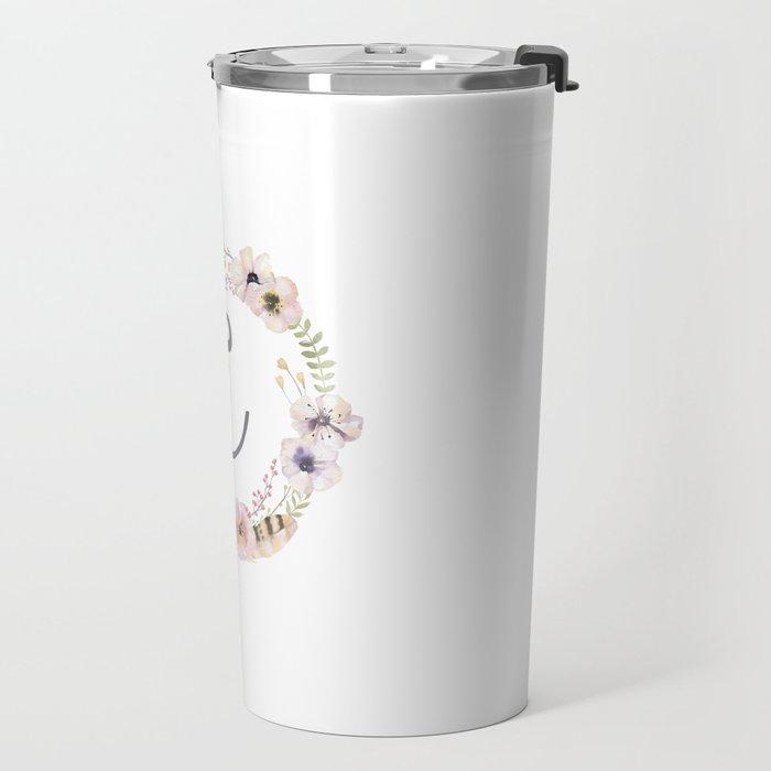 Floral Wreath - E Travel Mug