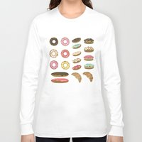 macaroons Long Sleeve T-shirts featuring Pastry by Julia Badeeva
