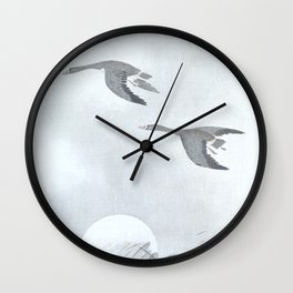 Flying Geese and The Sun - Vintage Japanese Woodblock Print Art Wall Clock