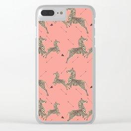 Royal Tenenbaums Zebra Wallpaper - Pink Clear iPhone Case