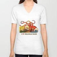 milwaukee V-neck T-shirts featuring MILWAUKEE: What's Kraken, Milwaukee? by Amanda Iglinski