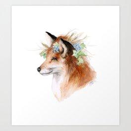 Flower Crowned Fox Art Print