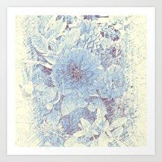 Floral Mix II (Blue & Ivory) Art Print