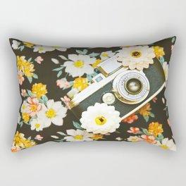 Floral Vintage Camera (Color) Rectangular Pillow