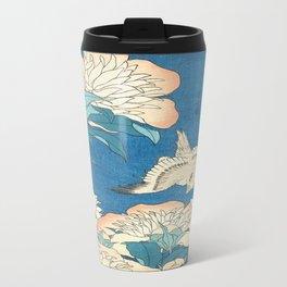 Japanese Flowers Turquoise Peach Travel Mug
