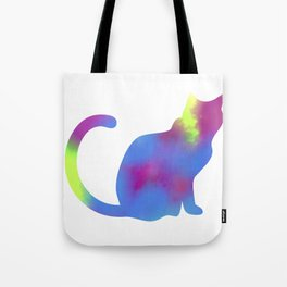 Rainbow Paint Kitty Tote Bag