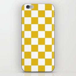 Mustard Yellow Checkers Pattern iPhone Skin