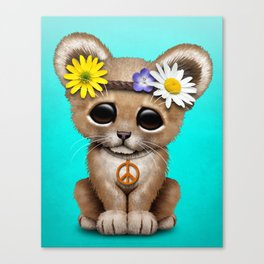 Cute Baby Lion Cub Hippie Canvas Print