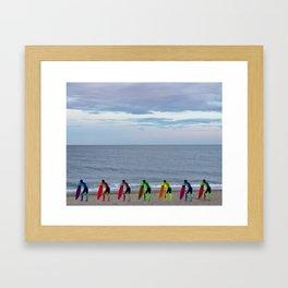 Patient Surfer - Neon - Waiting In Line Framed Art Print