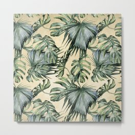 Palm Leaves Classic Linen Metal Print