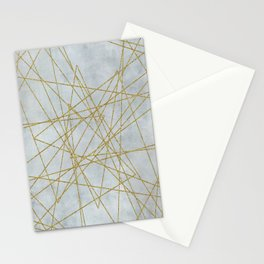 Golden Faux Glitter Lines On Teal Grey Stationery Cards