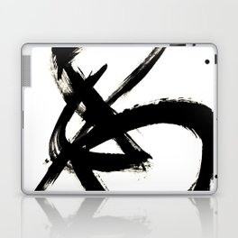 Brushstroke 3 - a simple black and white ink design Laptop & iPad Skin
