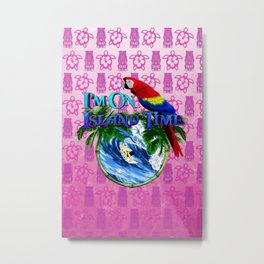 Pink Tiki Island Time Surfing Metal Print