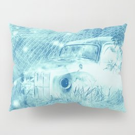 Ghost driver in the moonlight with fireflies and leaves Pillow Sham