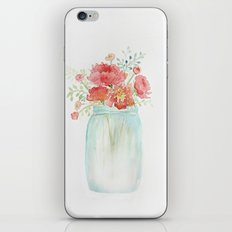 Pink peonies in blue jar iPhone & iPod Skin