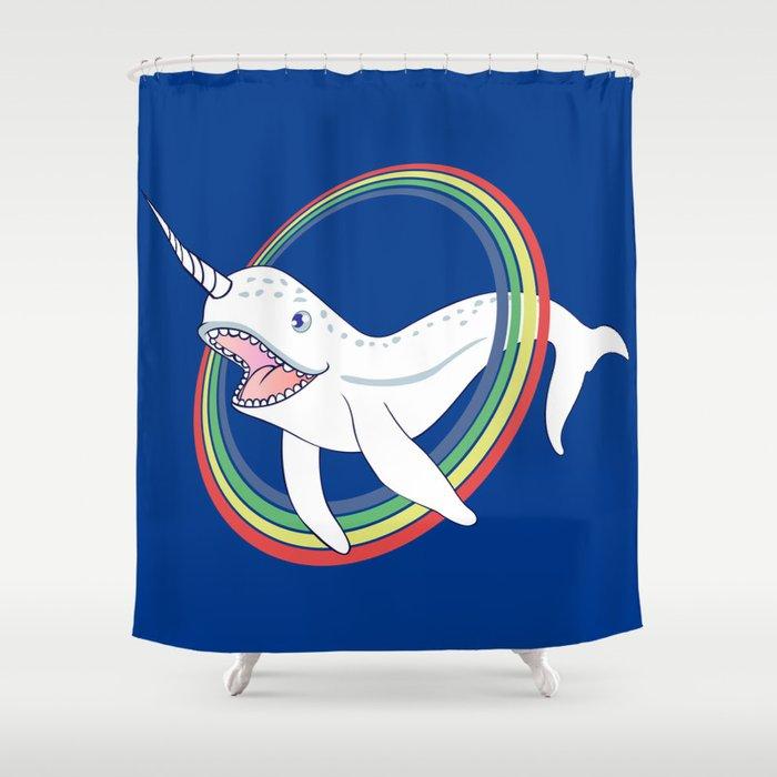 Cute Horn Narwhal With Rainbow Cartoon Shower Curtain by marios ...