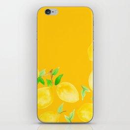 Lemons on Mustard Yellow iPhone Skin