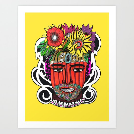 Yellow Pot Head Art Print