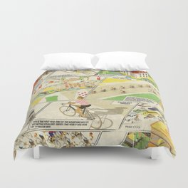 Tour de France Comic Book Duvet Cover