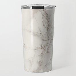 Classic Beige and White Marble Natural Stone Veining Quartz Travel Mug