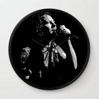 eddie vedder Wall Clocks featuring Music Artist - Eddie Vedder by Sberla
