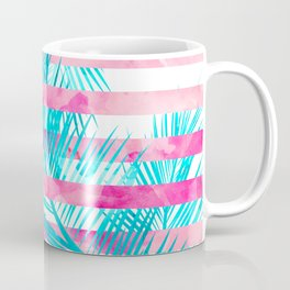 Modern pink turquoise tropical palm tree watercolor stripes pattern Coffee Mug