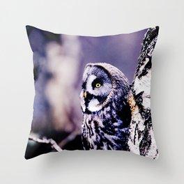 PURPLE HAZE GREAT GREY OWL Throw Pillow