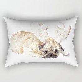Christmas Pug in Antlers Rectangular Pillow