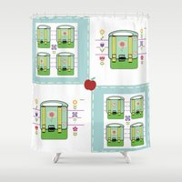 backpack Shower Curtains featuring Backpack  Quilt -Apple by Drape Studio