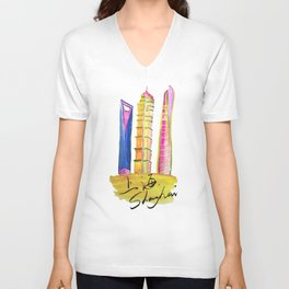 Fan' city landmarks illustration: sweet hometown-Shanghai Unisex V-Neck