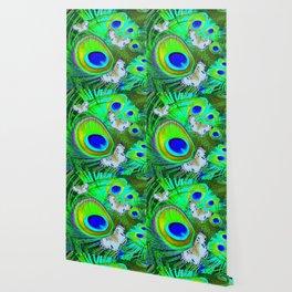 GREEN PEACOCK FEATHERS  & WHITE BUTTERFLIES FANTASY ART Wallpaper