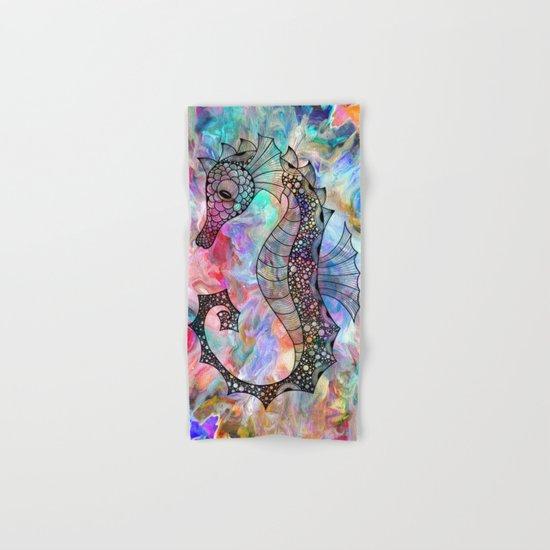 Drawn Seahorse on Colors Hand & Bath Towel