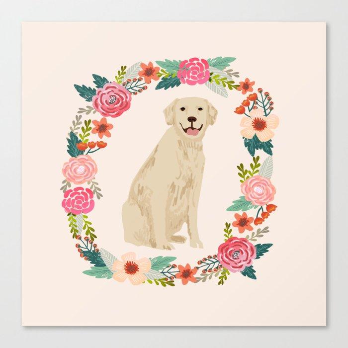 golden retriever dog floral wreath dog gifts pet portraits Leinwanddruck