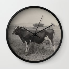 vintage antique black and white photograph of cow Wall Clock