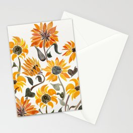 Sunflower Watercolor – Yellow & Black Palette Stationery Cards
