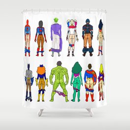 Superhero Butts - Power Couple Shower Curtain