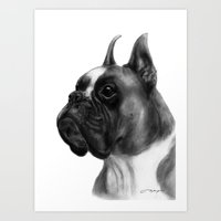 boxer Art Prints featuring Boxer  by Danguole Serstinskaja
