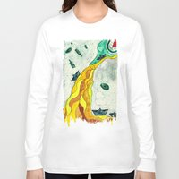 alcohol Long Sleeve T-shirts featuring Floating like Alcohol by Miss Banana
