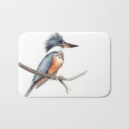 Kingfisher Bird Watercolor Illustration Bath Mat