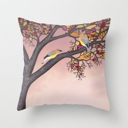 cedar waxwings on the stained glass tree Throw Pillow