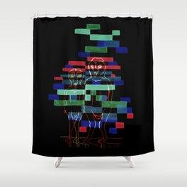 Glitching Owls Shower Curtain