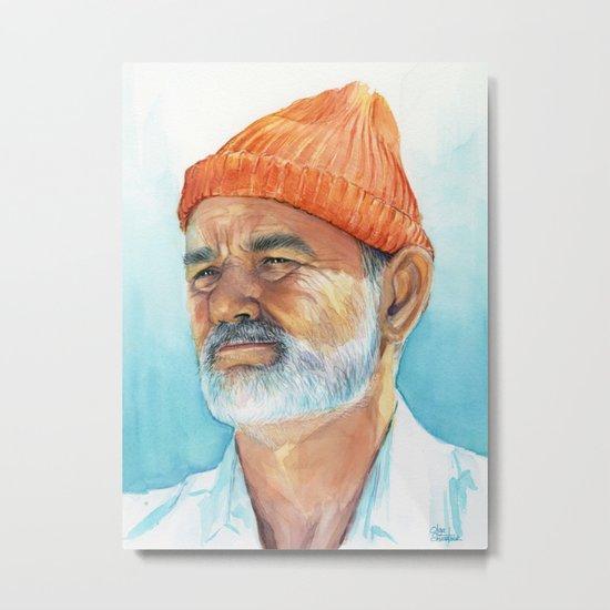 Bill Murray as Steve Zissou Portrait Art Metal Print