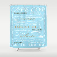 cape cod Shower Curtains featuring Cape Cod Typography Print by ELIZABETH THOMAS Photography of Cape Cod