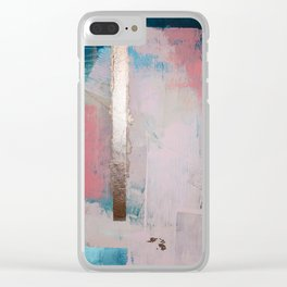Morning Light: a minimal abstract mixed-media piece in pink gold and blue by Alyssa Hamilton Art Clear iPhone Case