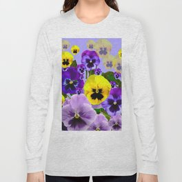 SPRING PURPLE & YELLOW PANSY FLOWERS Long Sleeve T-shirt