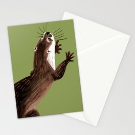 Asian small-clawed otter Green Stationery Cards