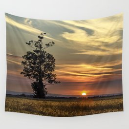Sunset over farmers cornfield on a hot, summers evening. Wall Tapestry
