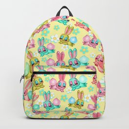Bunnies and Daisies on Yellow Backpack